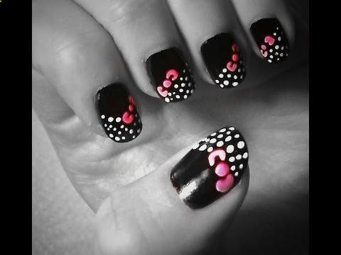 Unique black color Hello kitty nail art