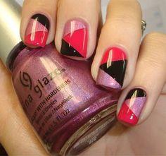 Unique black pink Three color nail art