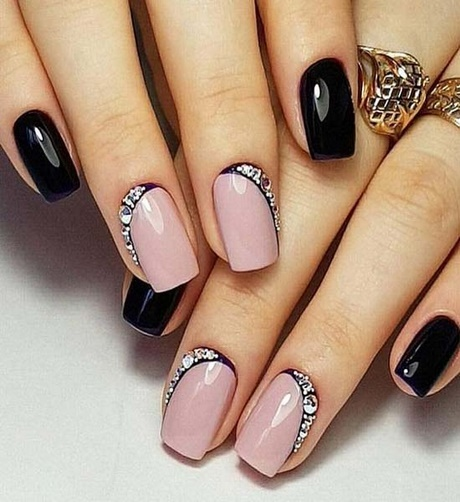 Unique pink black stone design Wedding nail art