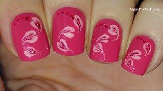 Unique pink floral Heart nail art