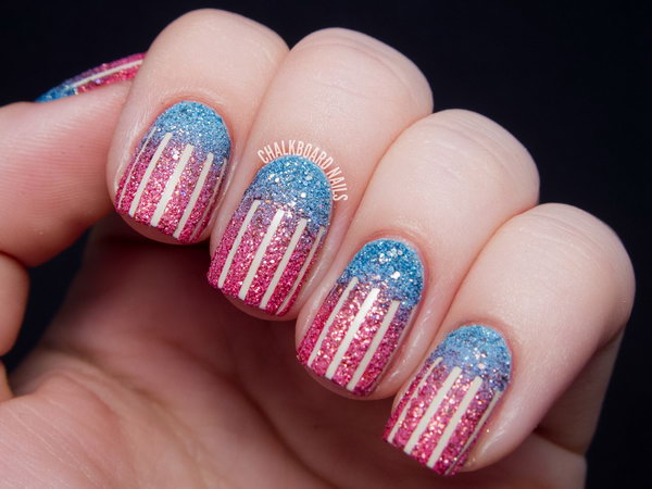 Unique pink lines Glitter nail art