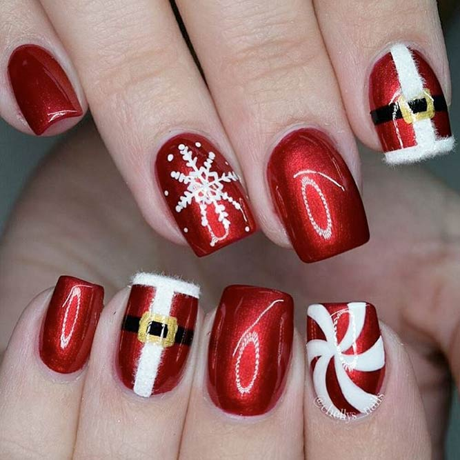 Unique red Santa & snow Christmas nail art