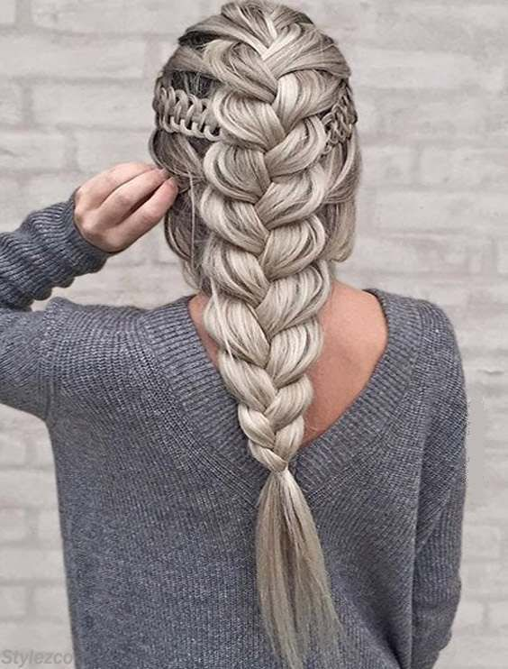 Unique silver design Braid Hairstyle