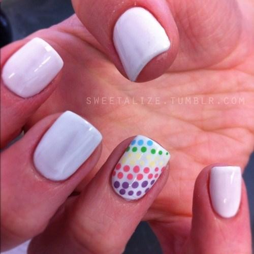 Unique white printed design Polka dots nail art