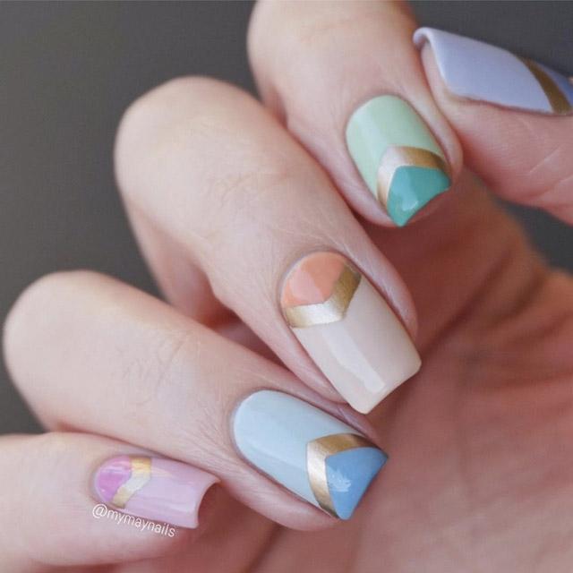 V shape Chevron design nail art