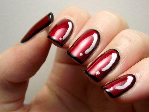 Valentines romantic red white & black Classy nail art