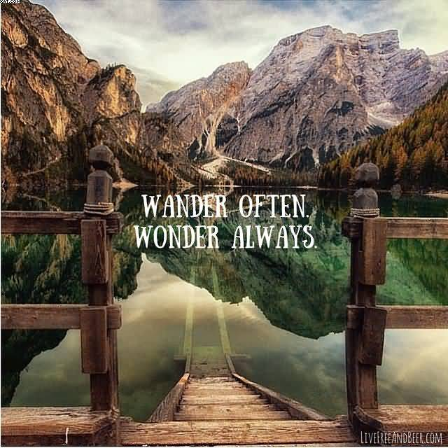 Wander often wonder always Nature and Earth Quotes