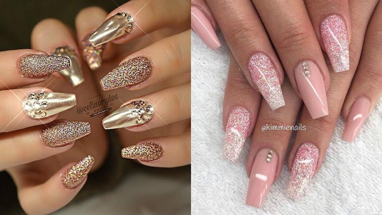 Wedding golden pink glitter designs Stones nail art