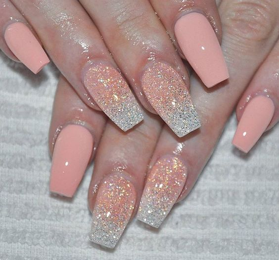 Wedding pretty peach Glitter nail art
