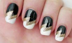 Wonder black white printed Three color nail art