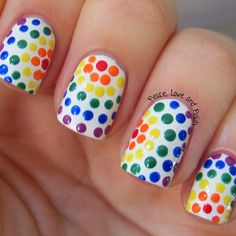 Wonderful colorful white Polka dots nail art