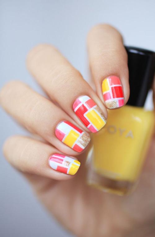 Wonderful red pink design Tiles nail art