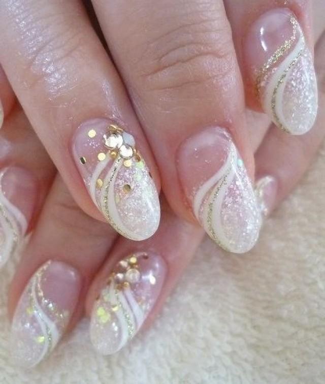 Wonderful white glitter design Wedding nail art