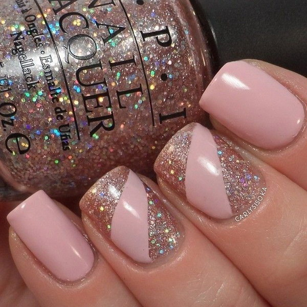 Wow design Glitter nail art