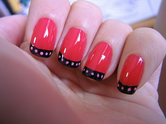 Wonderful peach dotted Color blocking nail art