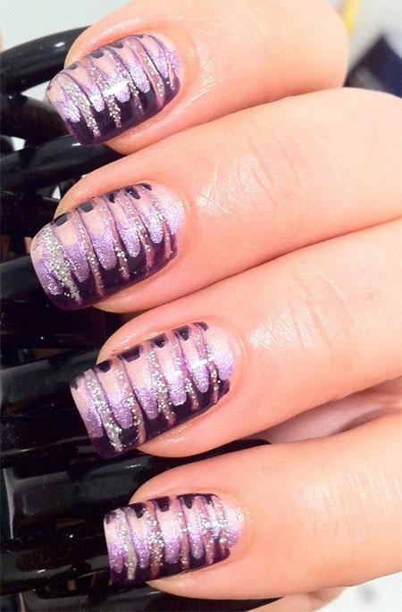 Wonderful purple & gel Chevron design nail art