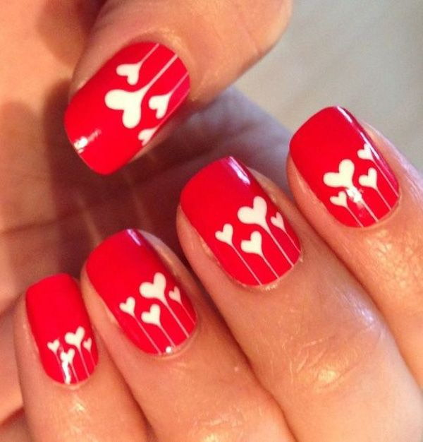 latest design in red Heart nail art