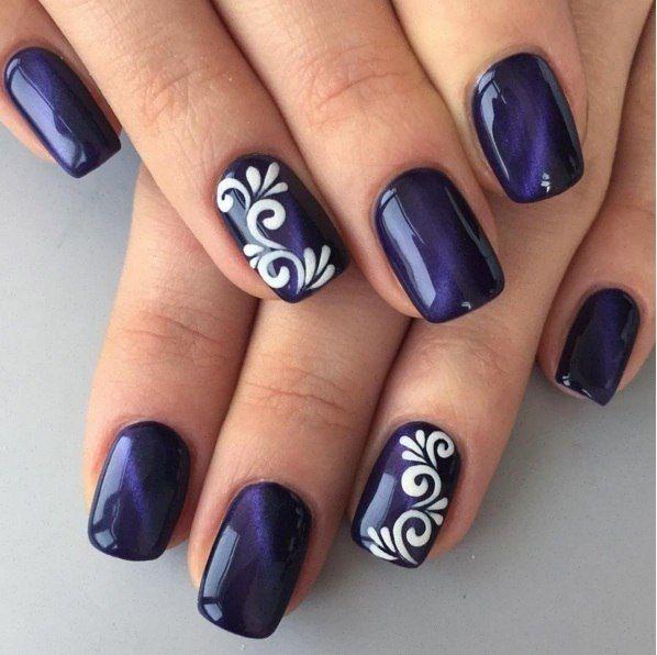 new blue design Glitter nail art