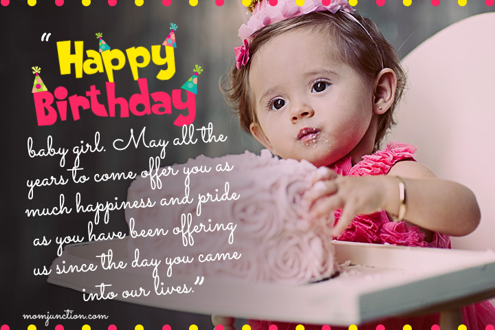 1st happy birthday wishes to dear little Daughter from parents