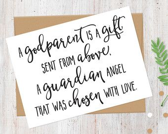 A Godparent Is Gift Sent From Above Greetings