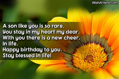 A Son like you is so rare birtthday poem wish for him from parents