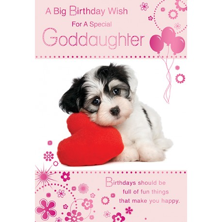 A big birthday wish for Goddaughter with cute dog card