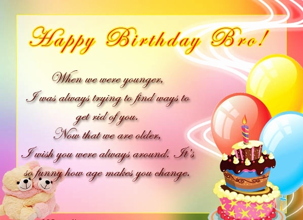 Amazing greeting card with teddy for dear Brother happy birthday
