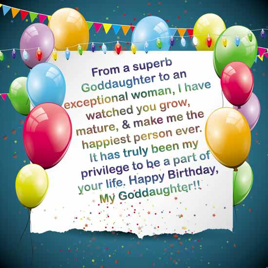 Beautiful happy birthday wish Goddaughter from your mother