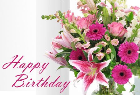 Beautiful happy birthday wishes with flowers to Godparents