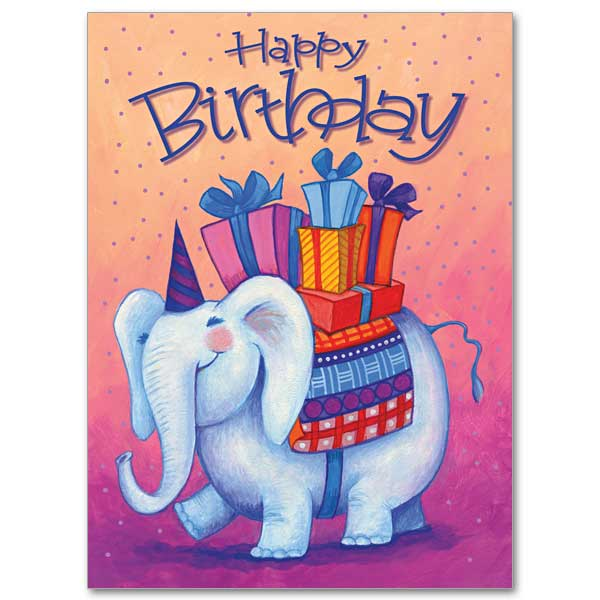 Cute elephant happy birthday wish for Godchild from father