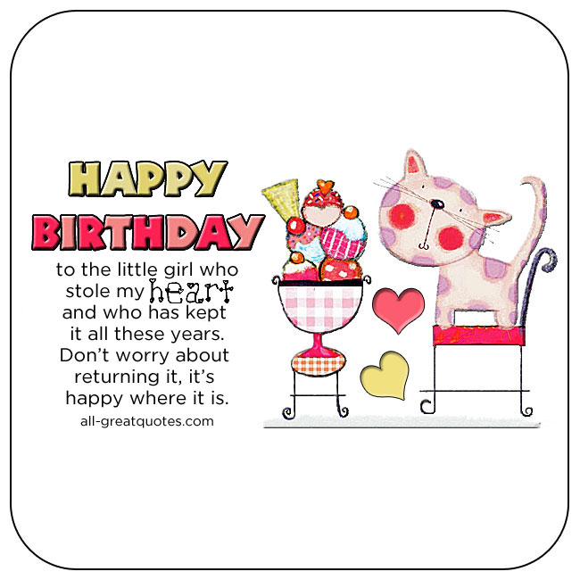 Cute happy birthday message & blessing to your little Daughter