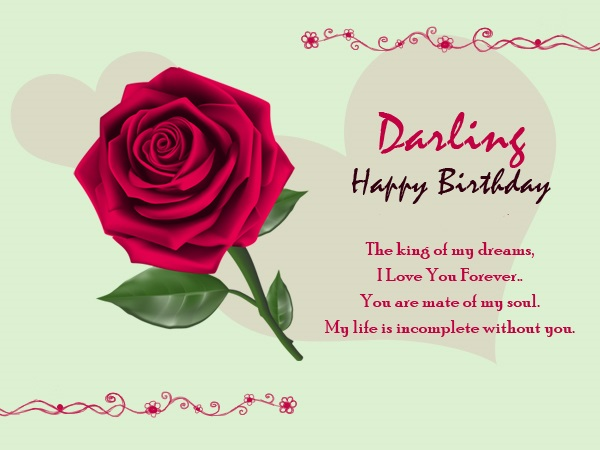 Darling happy  birthday dear Boyfriend wishes with love and roses greetings