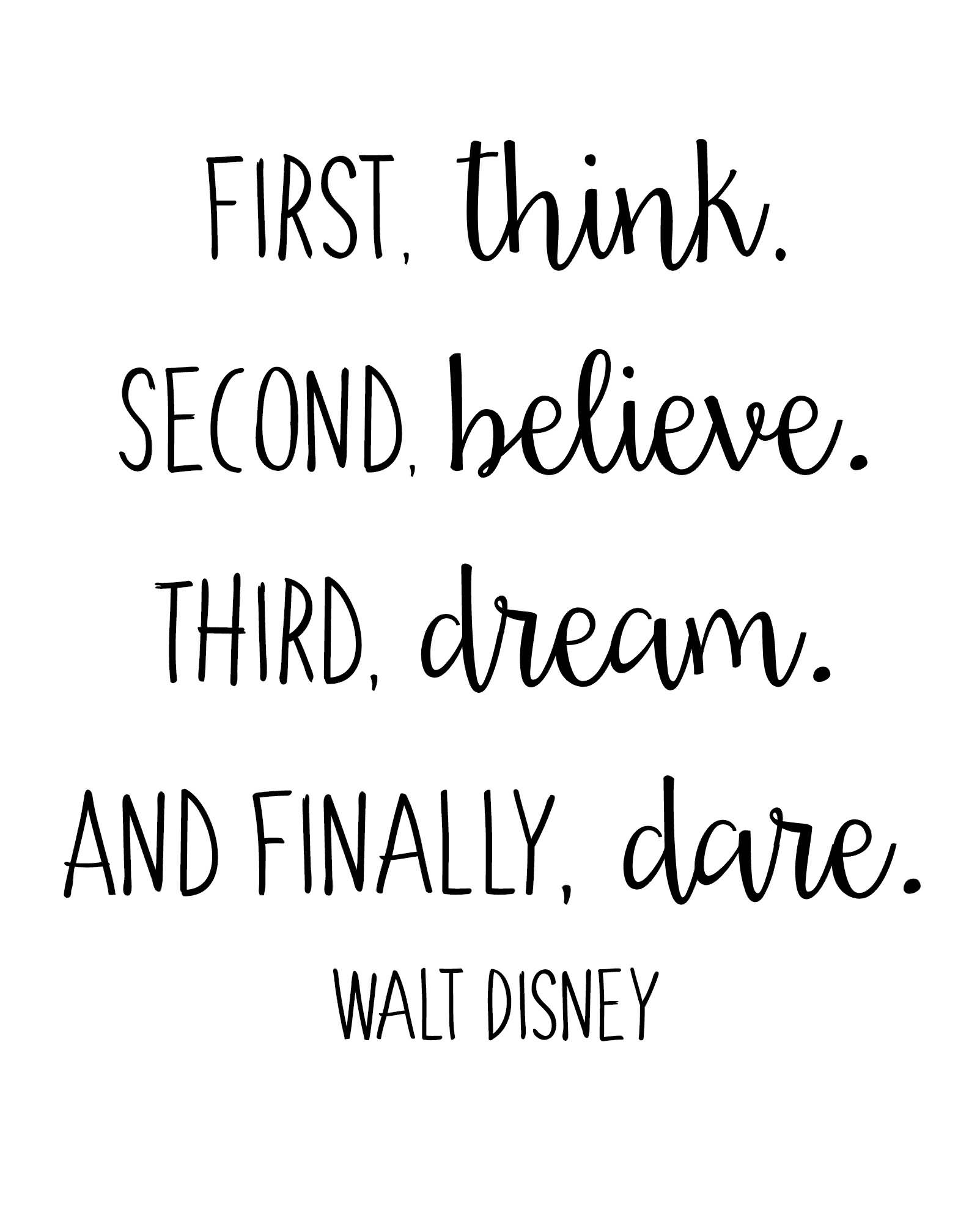 First Think Second Believe Disney Quotes