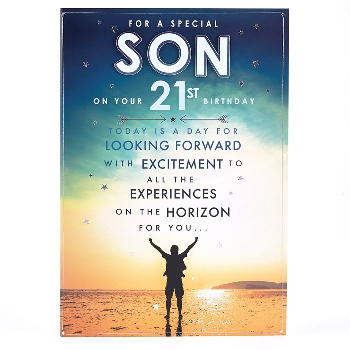 For a special Son on your 21st birthday greeting wish from dad