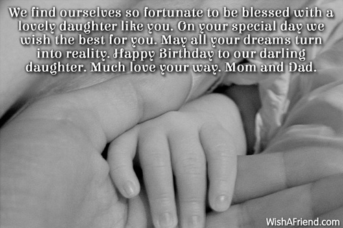 Great message & blessing for cute Daughter from parents