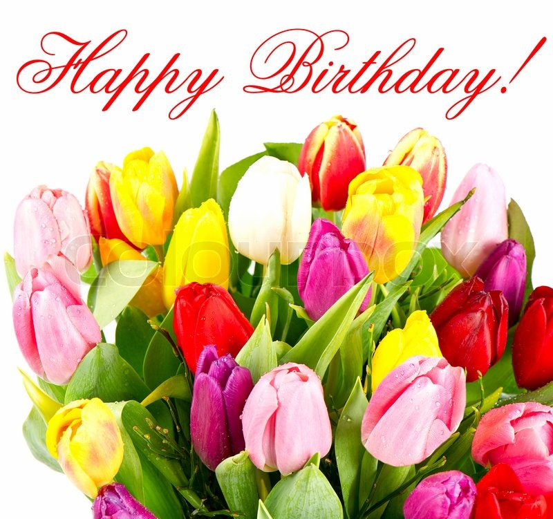 Happy birthday to Godparents with tulip flowers