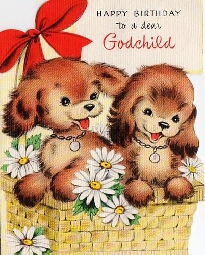 Happy birthday to dear Godchild greeting card