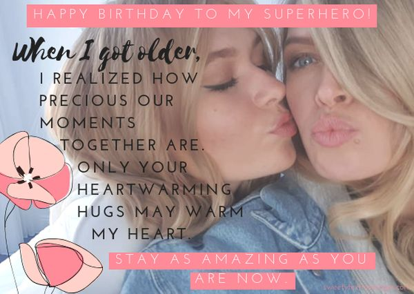 Happy birthday to my superhero wishes & blessing  Mother from daughter