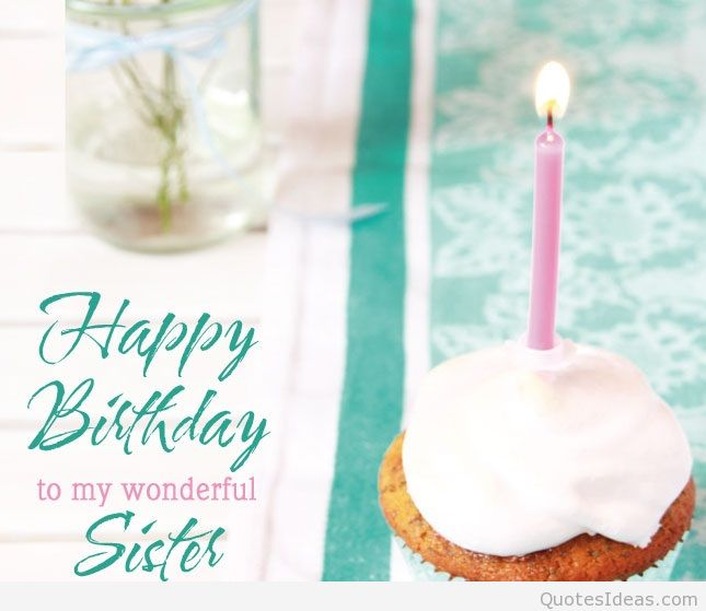 Happy birthday wishes card with candles for dear Sister