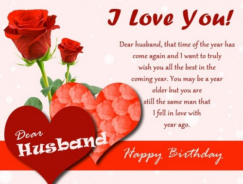 I love you dear Husband birthday greetings for romantic couple