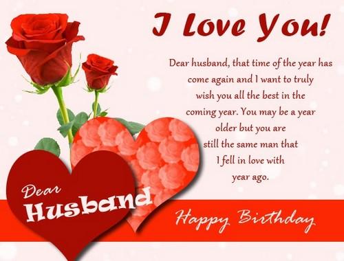 I love you dear Husband birthday greetings for romantic couple