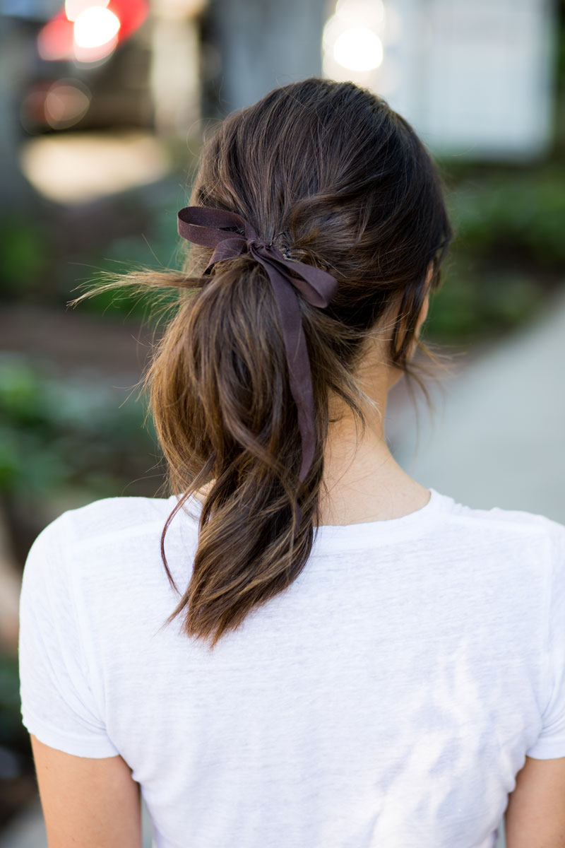 Latest ribbon style Ponytail hairstyle