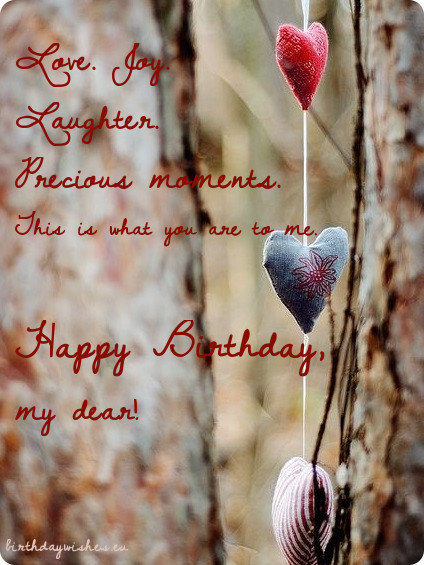 Love. joy. laughter. precious moments. wife birthday wishes with cute hearts