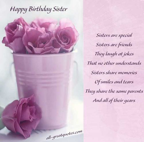 Lovely happy birthday greetings to my special Sister