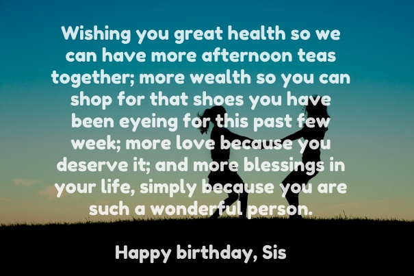 Motivational birthday wishing to a Sister messages