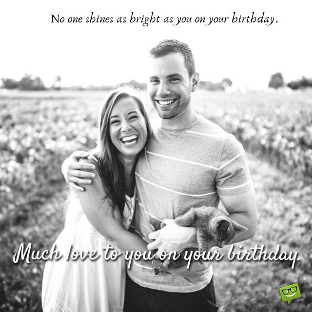 No one shines as bright as you Husband birthday message wish