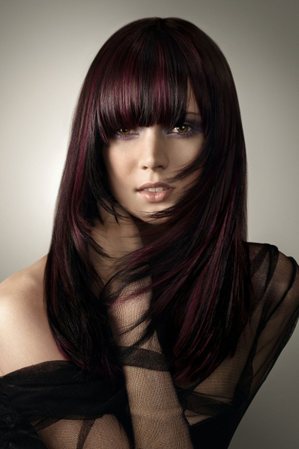 Red & black front cut Long Hairstyle