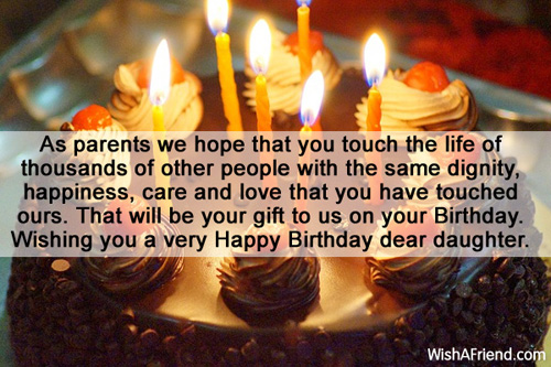 Short happy birthday message for dear Daughter from parents