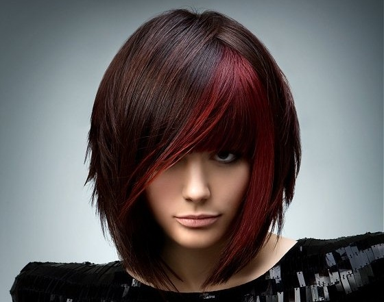 Stylish look red & black Short Hairstyle