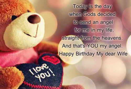 Today is the day when gods decided wife romantic wishes with cute teddy from husband